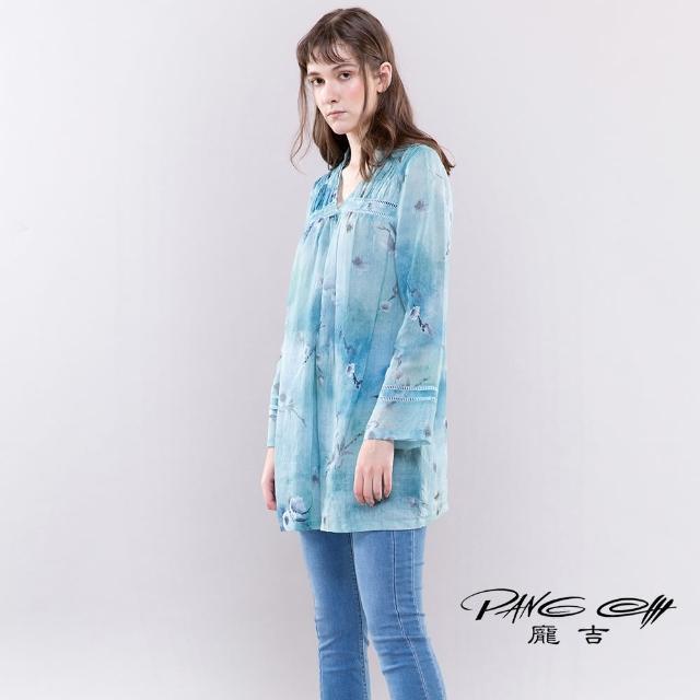 【PANGCHI 龐吉】花卉印花織帶苧麻襯衫(2113002/31/32/33)
