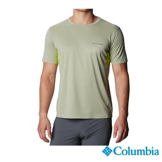 【Columbia 哥倫比亞】男款- 鈦 酷涼快排短袖上衣-綠色(UAE29760GR / 涼感.排汗.防曬)