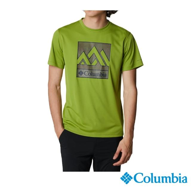 【Columbia 哥倫比亞】男款- UPF30涼感快排短袖上衣-抹茶綠(UAE64630MI / 涼感.排汗.防曬)
