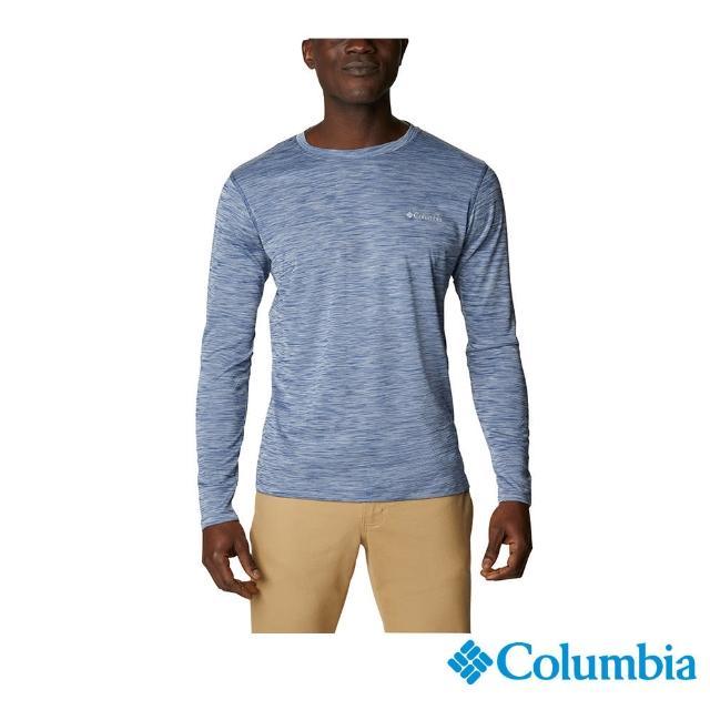 【Columbia 哥倫比亞】男款- UPF30涼感快排長袖上衣-深藍(UAE60830NY / 涼感.排汗.防曬)