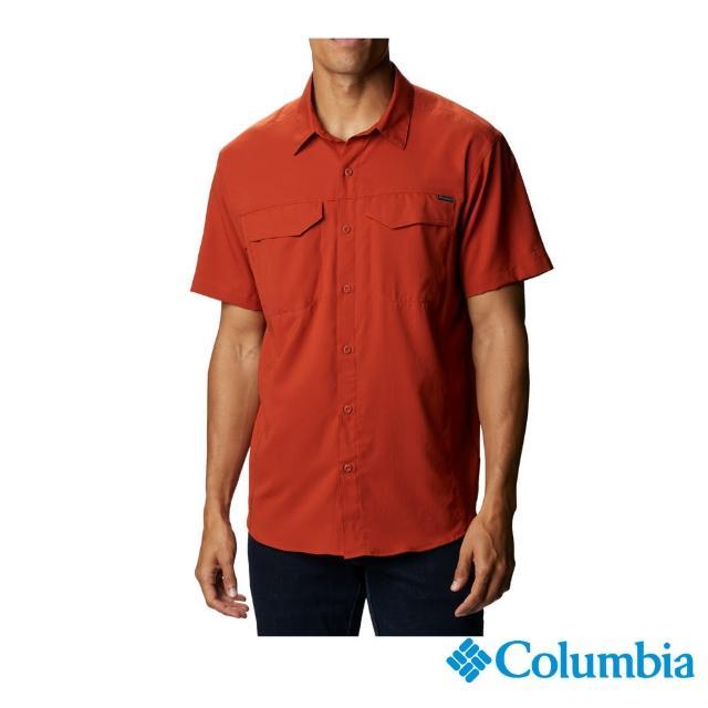 【Columbia 哥倫比亞】男款-UPF40快排短袖襯衫-紅色(UAE15670RD / 排汗.防曬.T恤)