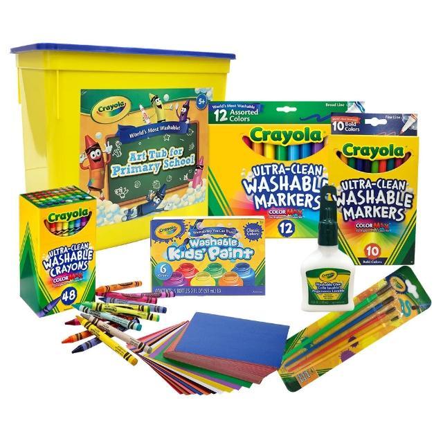 【crayola 繪兒樂】可水洗彩繪超值7件組(顏料_蠟筆_彩色筆_紙張_白膠)