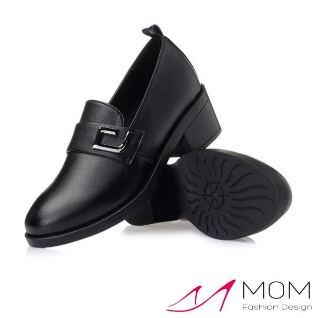 【MOM】真皮淑女鞋 粗跟淑女鞋/真皮細緻牛皮時尚深口氣質粗跟淑女鞋(黑)