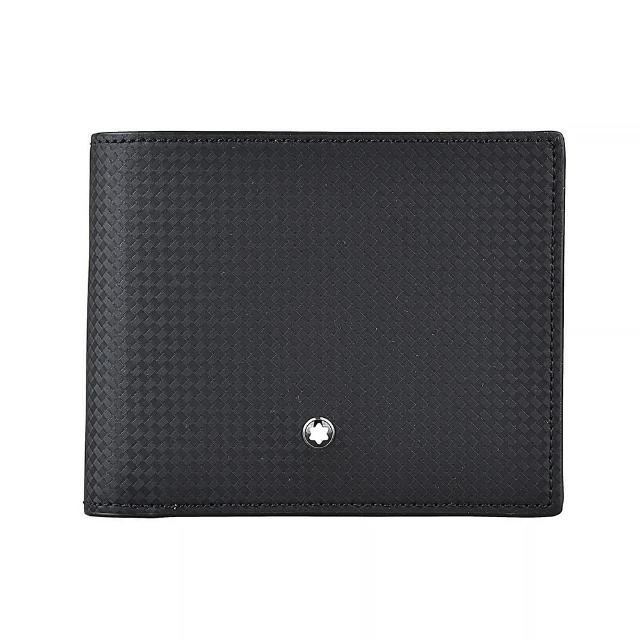 【MONTBLANC 萬寶龍】MONTBLANC Extreme 2.0六角星LOGO碳纖維設計六卡牛皮短夾(黑)