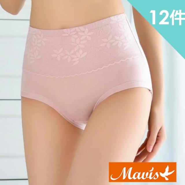 【Mavis 瑪薇絲】40支精梳棉高腰花瓣蕾絲內褲/高腰內褲(12件組-型)