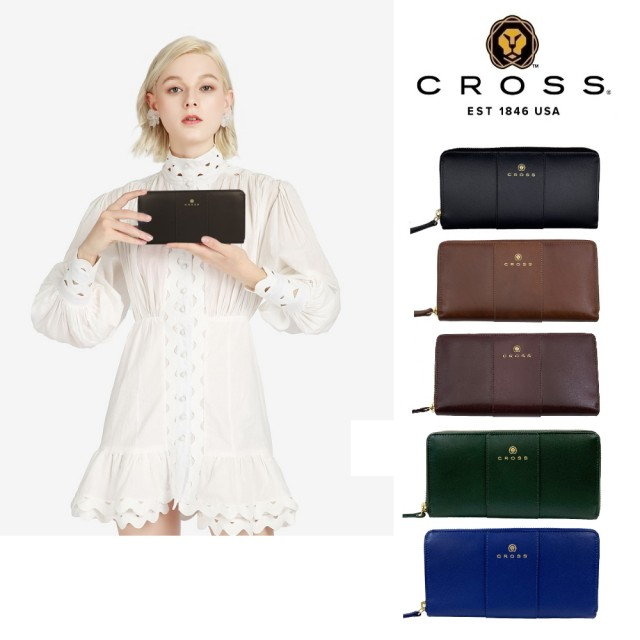 【CROSS】限量1.5折 賈姬限定款頂級NAPPA頂級小牛皮拉鍊長夾 全新專櫃展示品(多色任選)