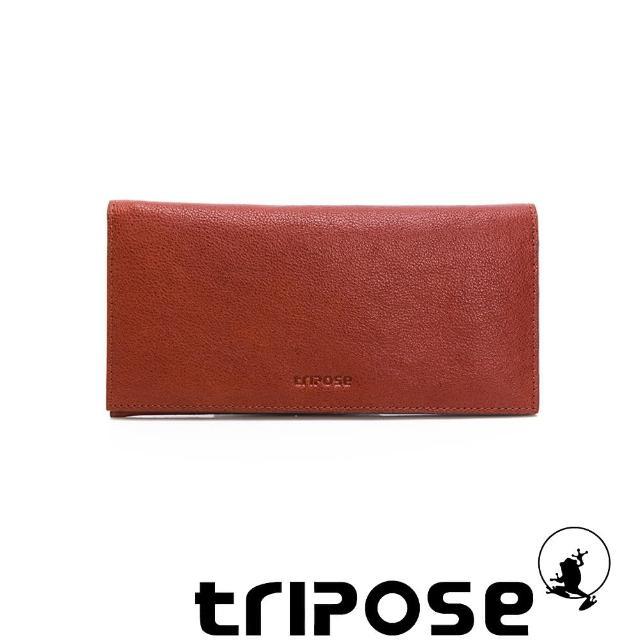 【tripose】進口牛皮輕薄長夾(深駝)