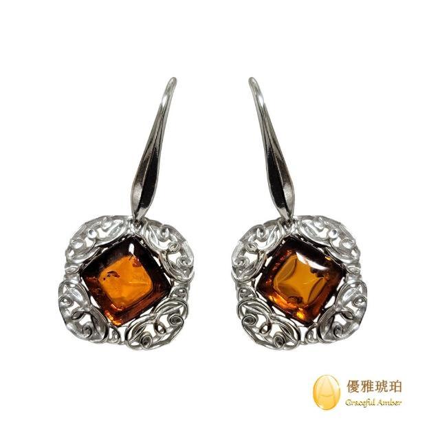 【優雅琥珀】來自波羅地海 經典方形琥珀 銀雕設計耳環(925純銀圖騰雕刻 細緻華麗風格)