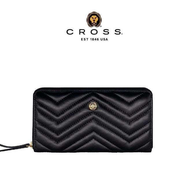 【CROSS】限量1折 頂級NAPPA小牛皮山形紋拉鍊長夾 全新專櫃展示品(黑色 附高貴送禮提袋)