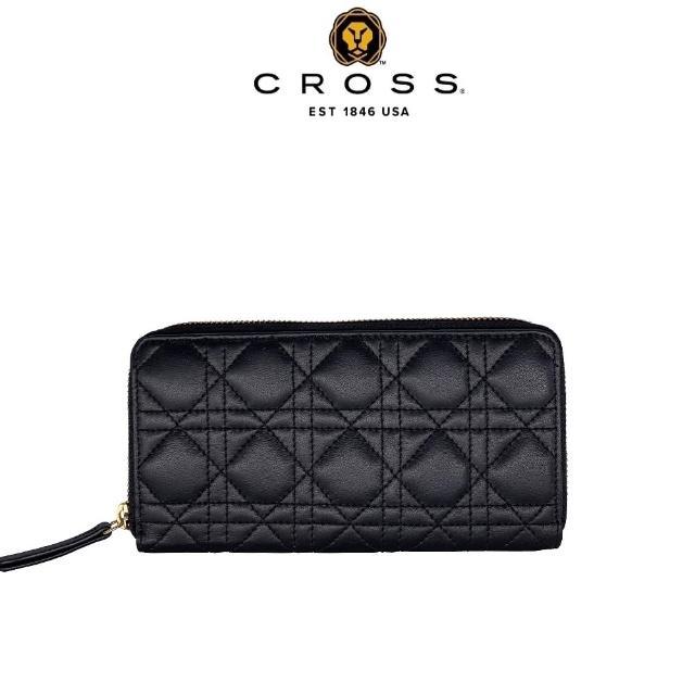 【CROSS】頂級NAPPA小牛皮藤格紋拉鍊長夾(黑色)