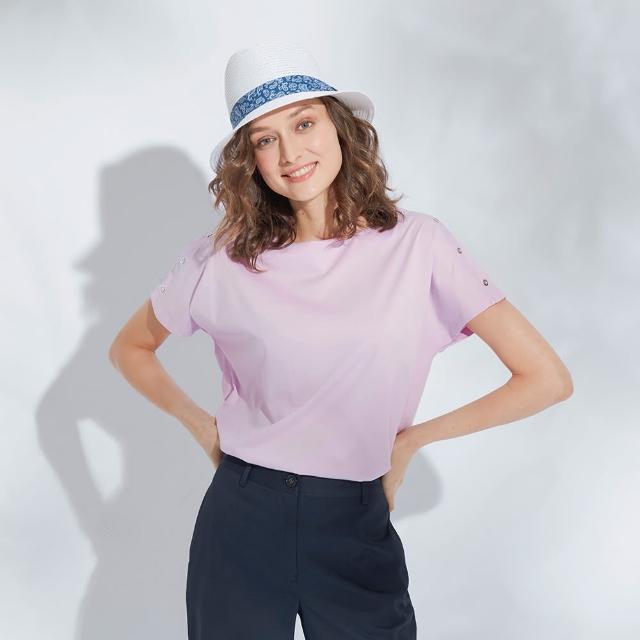 【AZUR】側邊袖釦造型素色平口上衣