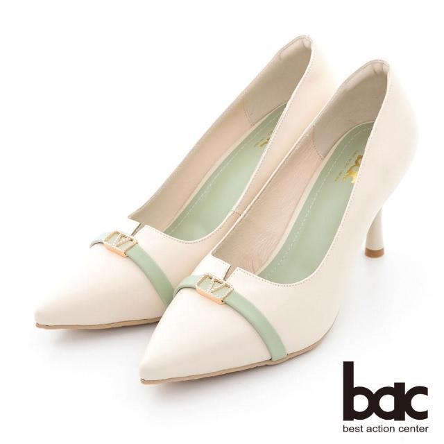 【bac】素雅尖頭小V口配色高跟鞋(白色)