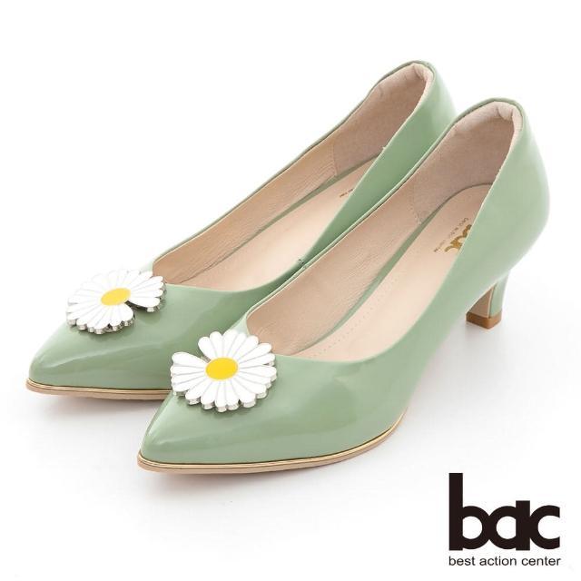 【bac】時髦尖頭小雛菊裝飾漆皮中跟鞋(果綠)