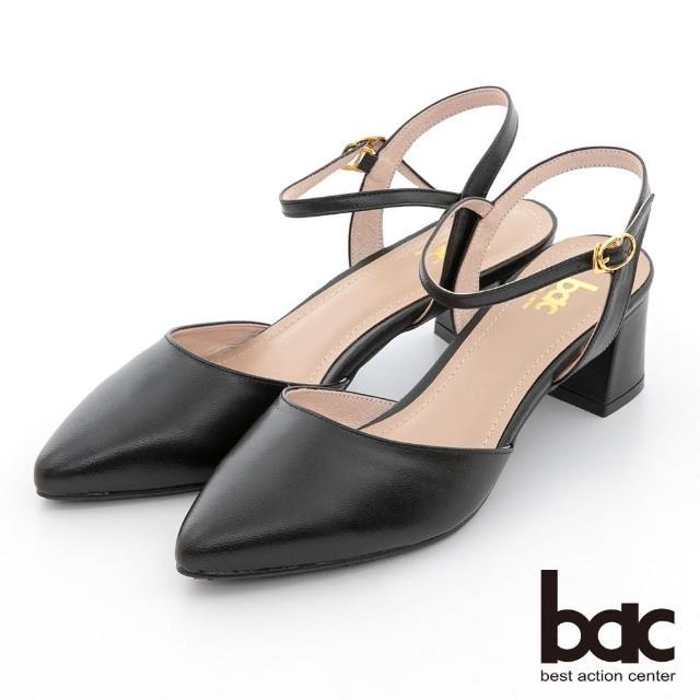 【bac】簡約線條兩截式粗跟鞋(黑色)