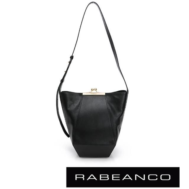 【RABEANCO】新簡約珠扣真牛皮幾何單肩包(黑色)