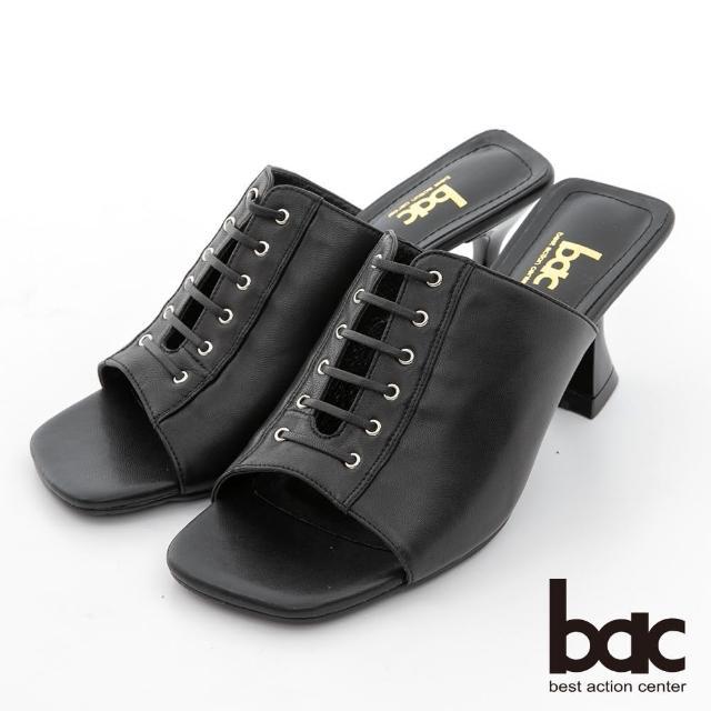 【bac】時髦深口綁帶粗跟涼拖鞋(黑色)