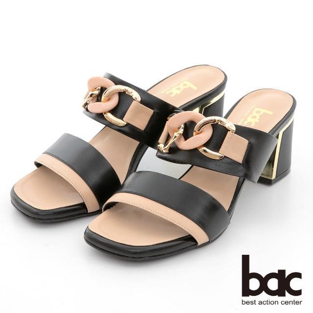 【bac】拼色一字帶鎖鏈金屬跟涼拖鞋(黑卡)