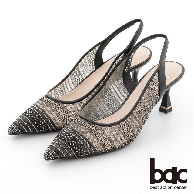 【bac】蕾絲透膚感水鑽點綴後空高跟鞋(黑色)