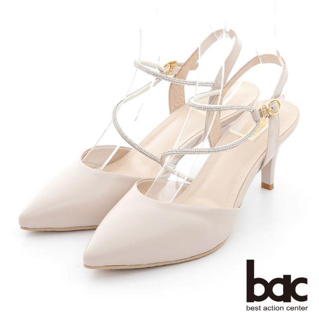【bac】不對襯水鑽線條兩截式高跟鞋(米色)