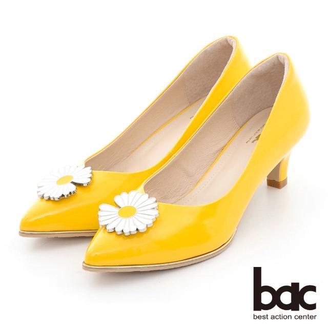 【bac】時髦尖頭小雛菊裝飾漆皮中跟鞋(黃色)