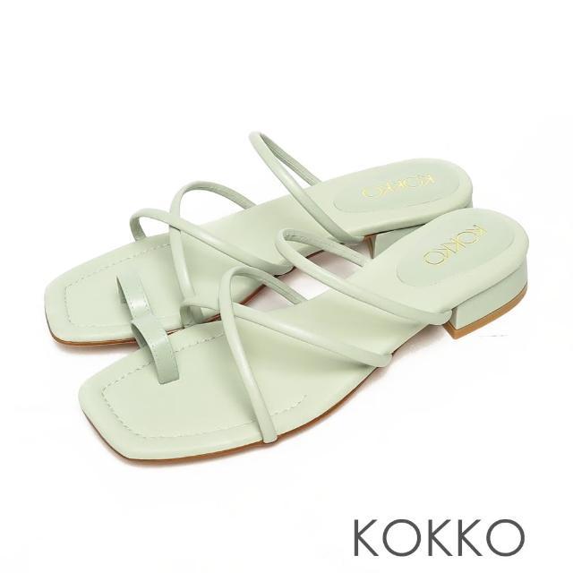 【KOKKO 集團】女神風柔軟綿羊皮細條夾腳平底涼拖鞋(薄荷綠色)