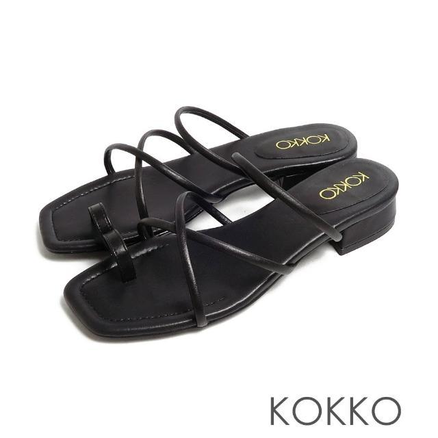【KOKKO 集團】女神風柔軟綿羊皮細條夾腳平底涼拖鞋(黑色)