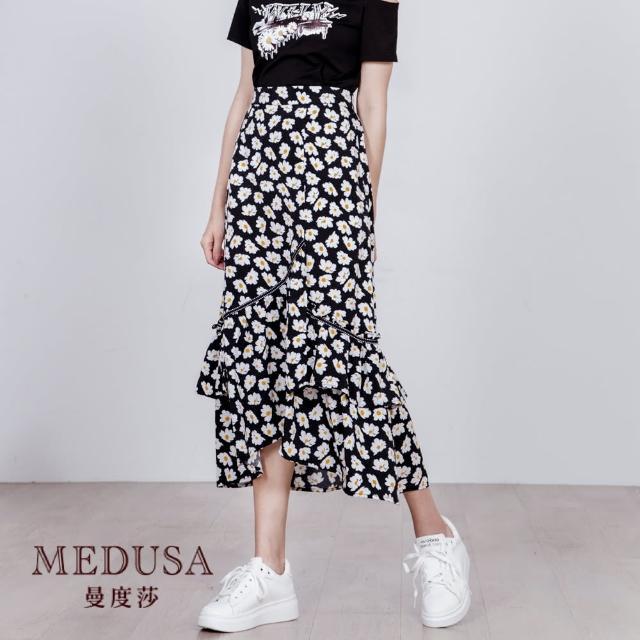 【MEDUSA 曼度莎】小菊花荷葉魚尾中長裙(M-XL)(601-7080C)