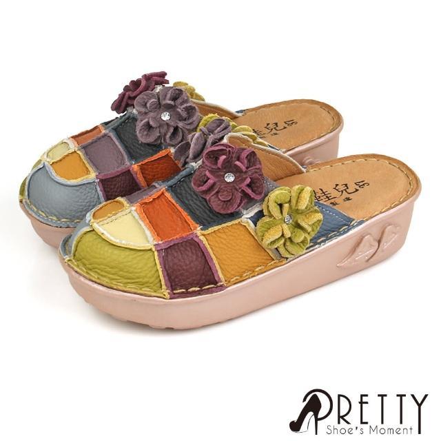 【Pretty】台灣製全真皮水鑽花朵撞色拼接厚底前包後空鞋/穆勒鞋(五彩)