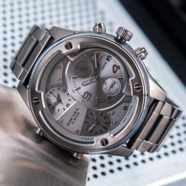 【DIESEL】公司貨 Boltdown 曠野男神多時區不鏽鋼腕錶/灰(DZ7426)