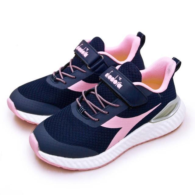【DIADORA】大童 迪亞多那 22cm-24.5cm 輕量4E寬楦避震慢跑鞋 ETPU彈力球系列(藍粉 13021)