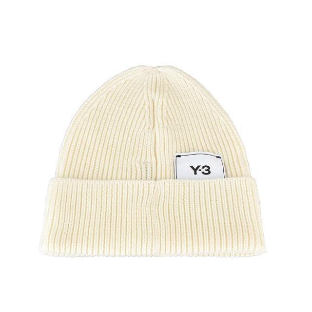 【Y-3 山本耀司】Adidas Y-3 CLASSIC BEANIE標籤LOGO針織毛線帽(純白)