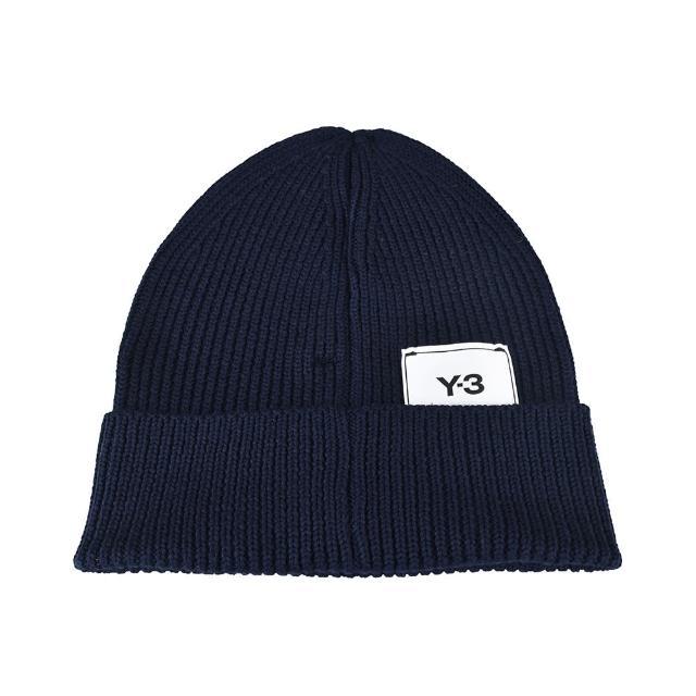 【Y-3 山本耀司】Adidas Y-3 CLASSIC BEANIE標籤LOGO針織毛線帽(墨水藍)
