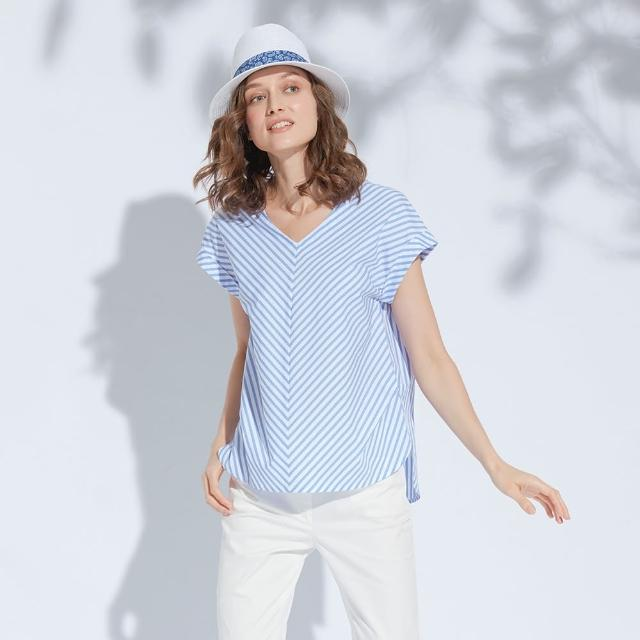 【AZUR】時尚OL斜條紋上衣