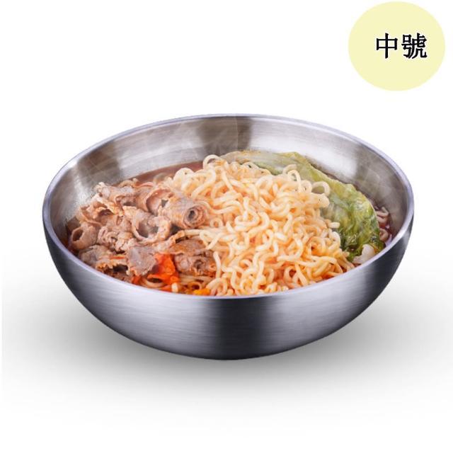【PUSH!】餐具304不銹鋼碗加厚雙層隔熱湯碗沙拉碗碗泡麵(碗中號E165)