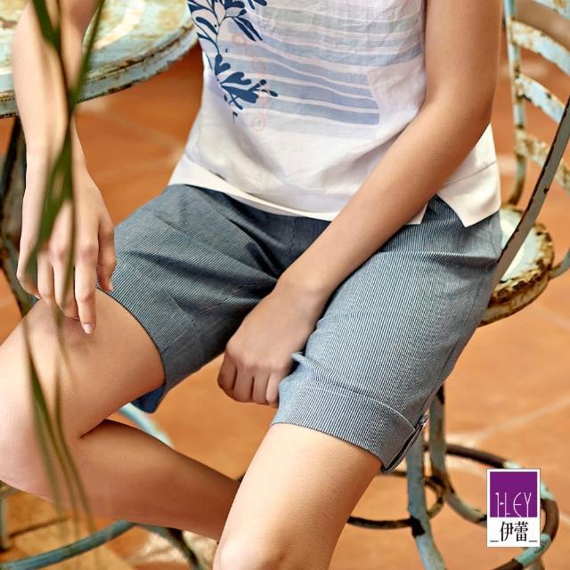 【ILEY 伊蕾】藍白細條紋反摺牛仔五分褲1212028521(藍)