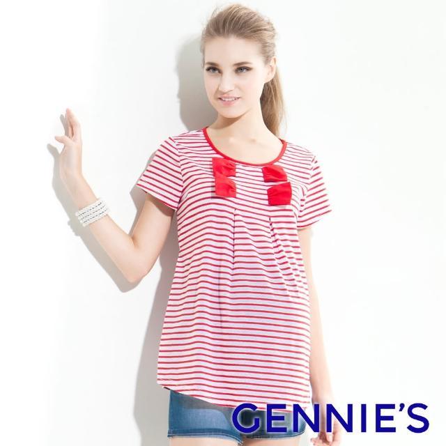 【Gennies 奇妮】造型蝴蝶結條紋長版上衣(紅/黑T3327)
