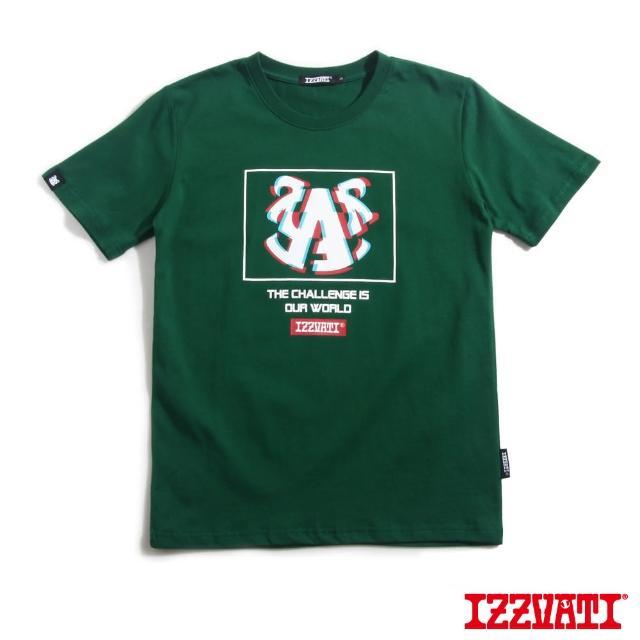 【IZZVATI】雜訊牛角短T-綠/紅