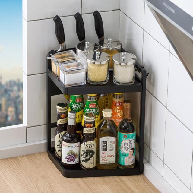【HappyLife】多功能廚房轉角架 27長2層 配刀架 Y10155(桌上整理架 檯面整理架 餐具架 調味料 廚房收納架)