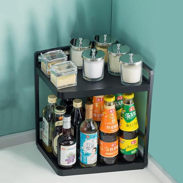 【HappyLife】多功能廚房轉角架 32長2層 Y10156(桌上整理架 檯面整理架 餐具架 調味料 廚房收納架)