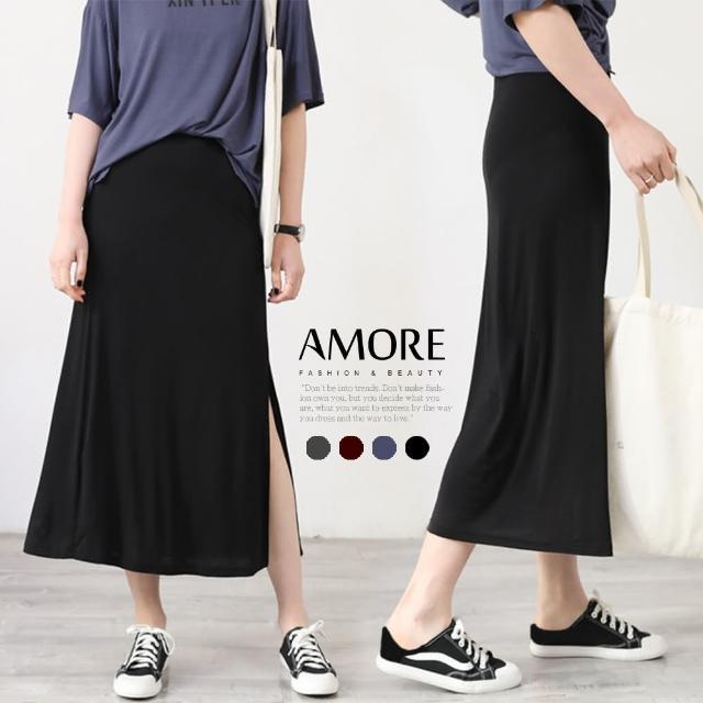 【Amore】韓版莫代爾開衩長裙(輕鬆穿搭氣質單品)