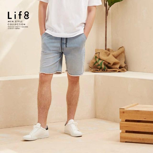 【Life8】Casual 彈力舒適 水洗感牛仔短褲(02604)