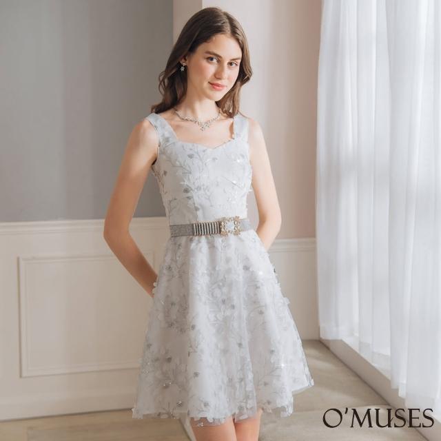【OMUSES】蕾絲網紗金蔥亮粉白色短洋裝28-25421(S-2L)