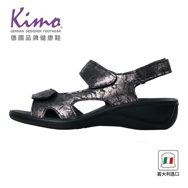 【Kimo】義大利製造燙金花卉牛皮涼鞋 女鞋(質感黑 70822016240)