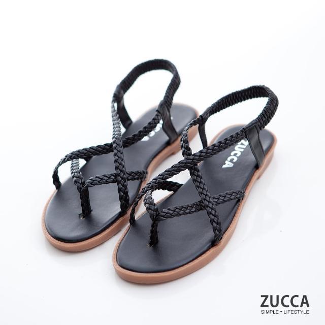 【ZUCCA&bellwink】編織素帶交叉涼鞋z7003bk-黑色