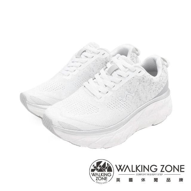 【WALKING ZONE】女 天痕W系列 飛線編織增高休閒鞋 女鞋(白)