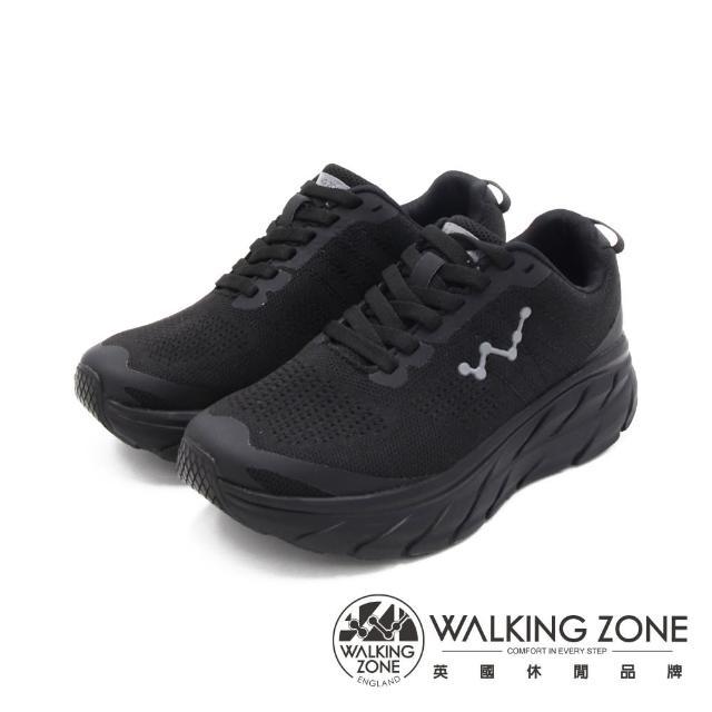 【WALKING ZONE】女 天痕W系列 飛線編織增高休閒鞋 女鞋(黑)