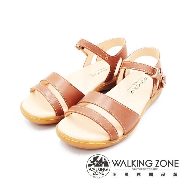 【WALKING ZONE】女 MIT真皮手工車縫厚底涼鞋 女鞋(棕)