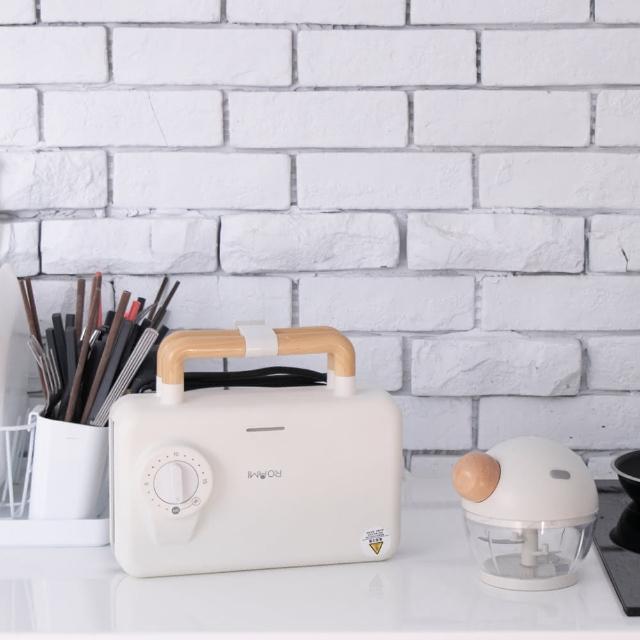 【Roommi】煎烤熱壓三明治機+圓寶寶手動料理機(電烤盤)