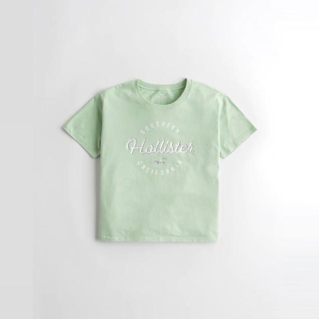 【HOLLISTER Co】Hollister 海鷗 經典印刷文字短版圖案短袖T恤-女-淺綠色