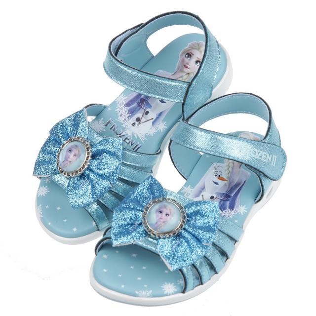 【布布童鞋】Disney冰雪奇緣艾莎雪寶蝴蝶結亮晶晶水藍色兒童電燈涼鞋(B1G126B)